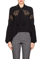 Givenchy Women's Scarf-Neck Lace-Inset Silk Blouse