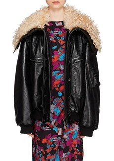Givenchy Women's Shearling-Collar Leather Bomber Jacket