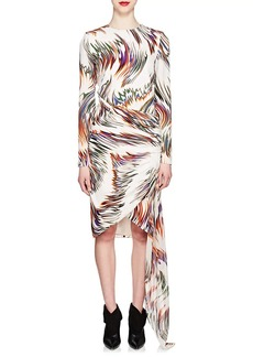 Givenchy Women's Wave-Print Gathered Silk Dress