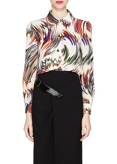 Givenchy Women's Wave-Print Silk Blouse