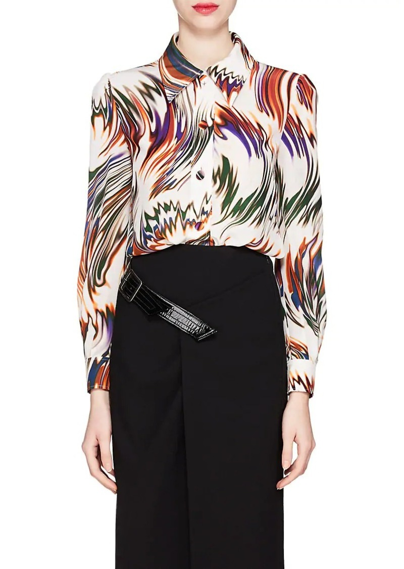Givenchy Women's Wave-Print Silk Blouse