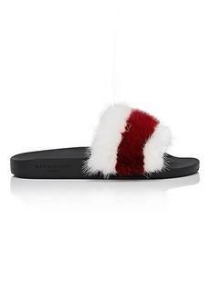 Givenchy Women's Women's Striped Mink Fur Slide Sandals