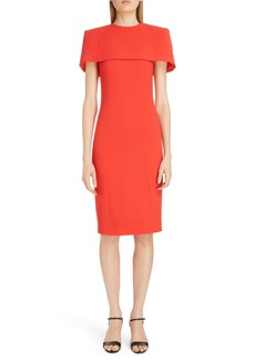 Givenchy Wool Sheath Dress with Removable Cape