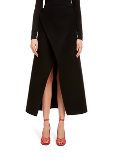 Givenchy Wrap Front Wool Midi Skirt