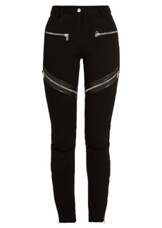 Givenchy Zip and leather-trim double-knit leggings