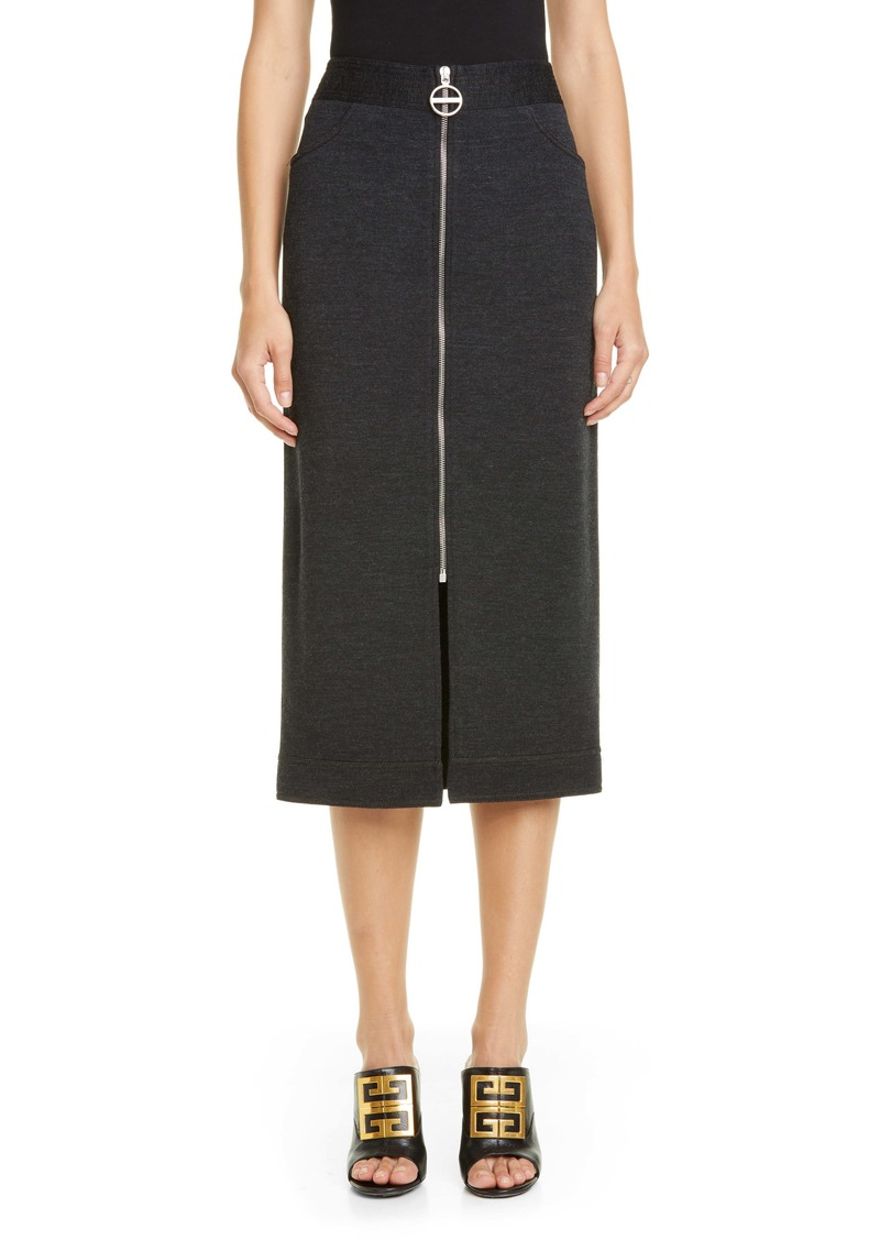 Givenchy Zip Front Mélange Wool Jersey Skirt