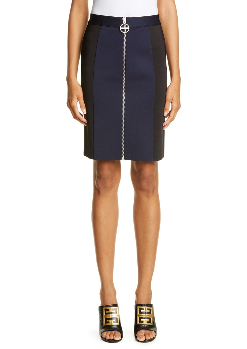 Givenchy Zip Front Punto Milano Pencil Skirt