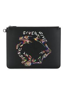Givenchy Glitch logo print clutch
