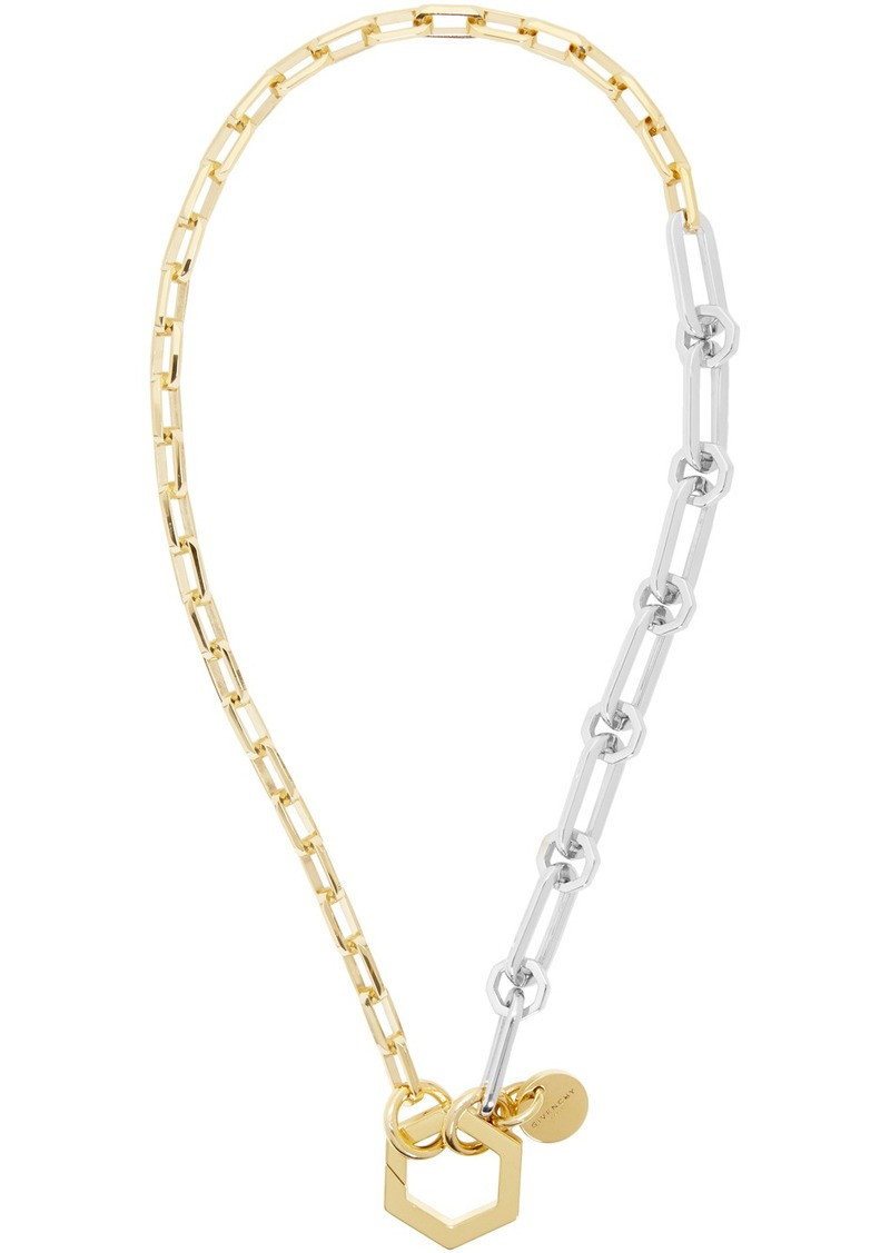 Givenchy Gold & Silver Short Hexagonal Hook & Chains Necklace