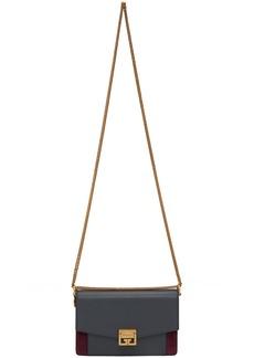 Givenchy Grey & Burgundy Suede GV3 Wallet Bag