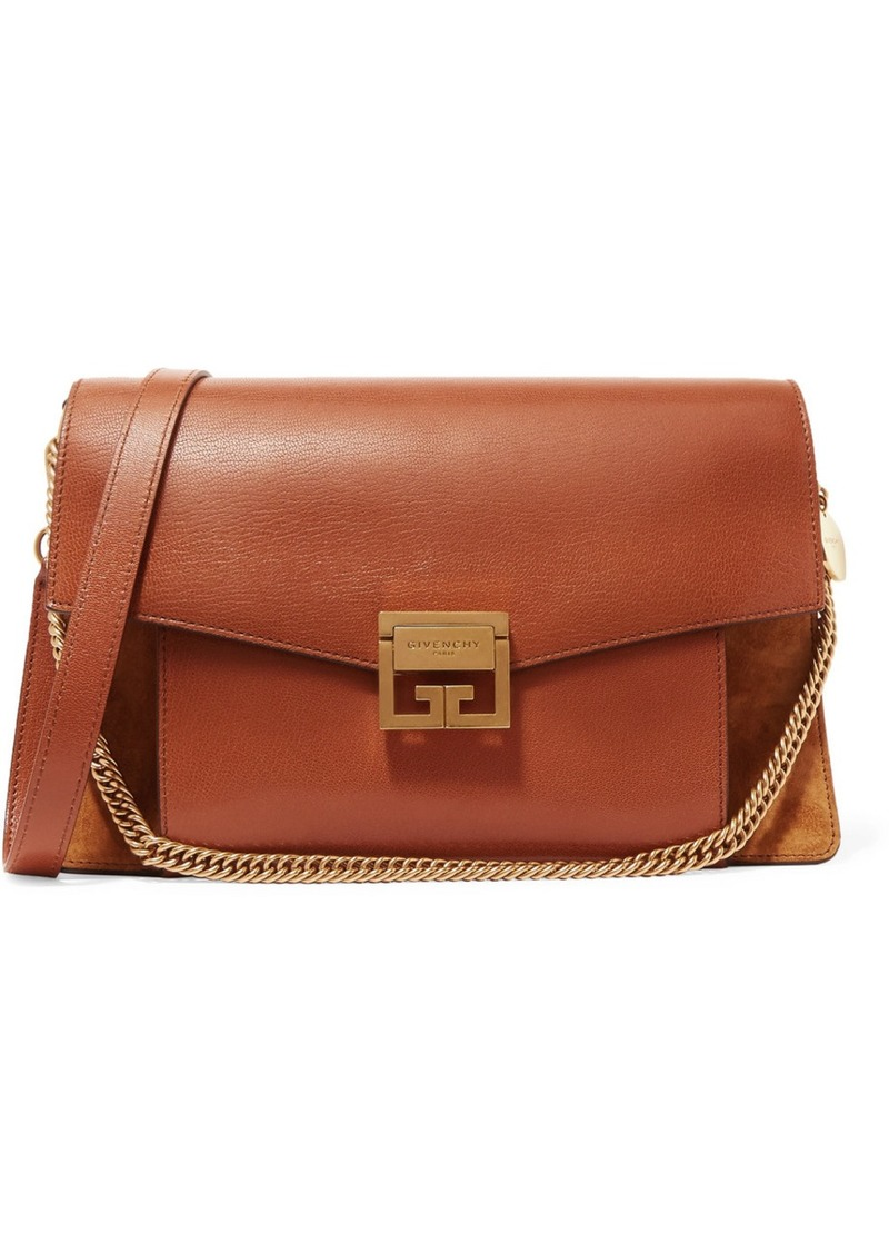 7196ffec34 Givenchy Gv3 Medium Textured-leather And Suede Shoulder Bag