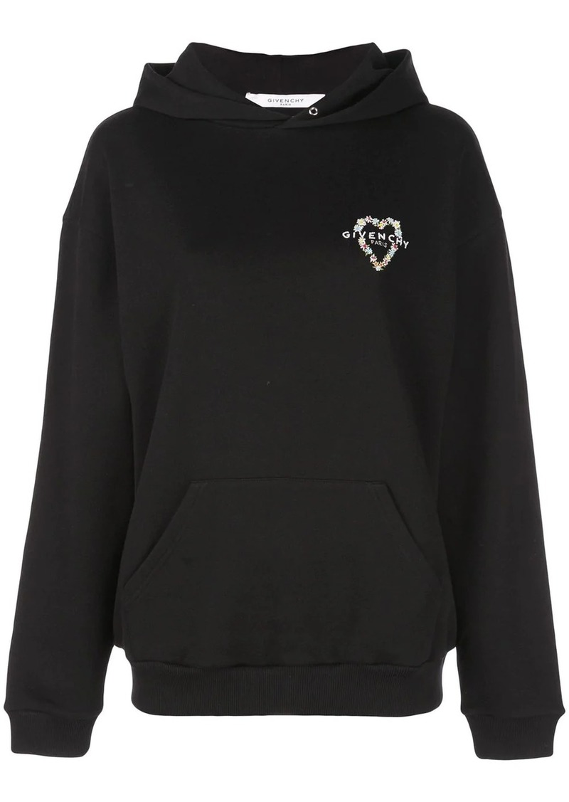 Givenchy heart embroidered logo hoodie