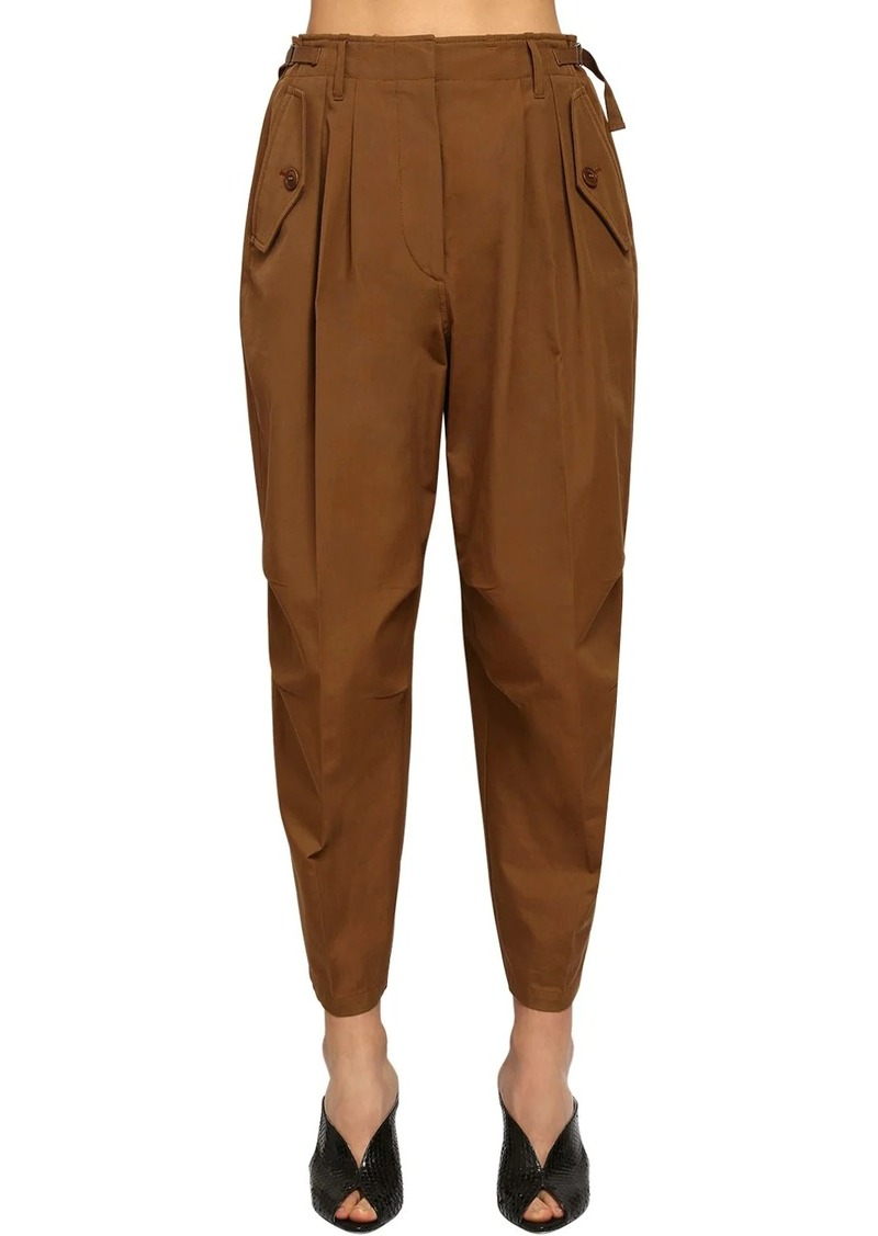 Givenchy High Waist Cotton Canvas Cargo Pants