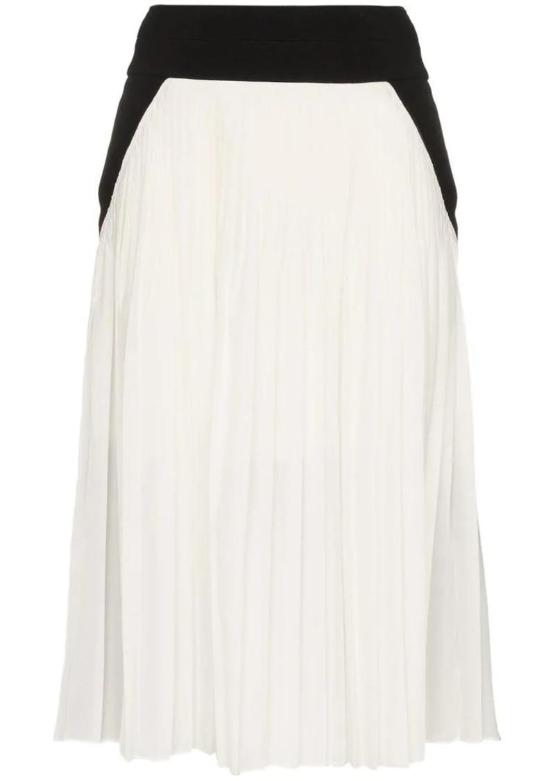 high waisted pleated silk blend skirt