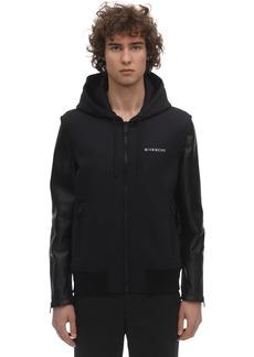 Givenchy Hooded Neoprene & Leather Biker Jacket