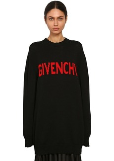 Givenchy Intarsia Logo Cotton Knit Sweater