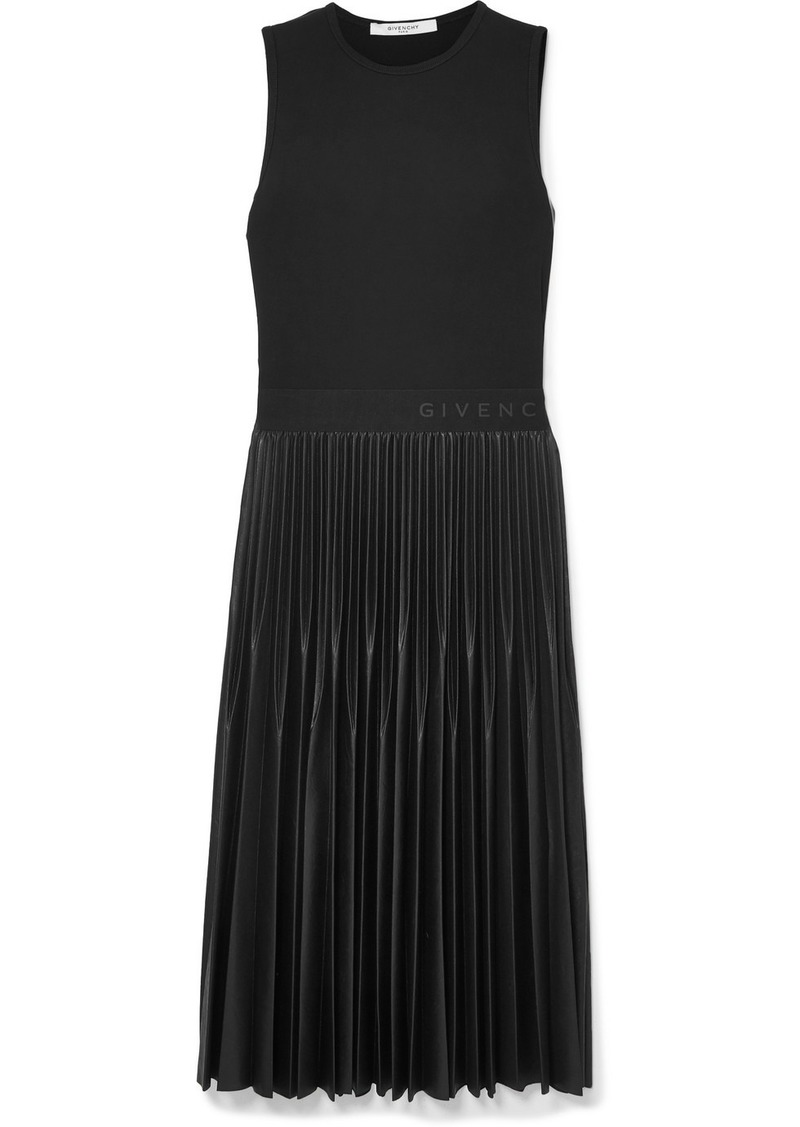 Givenchy Jersey And Pleated Faux Leather Dress