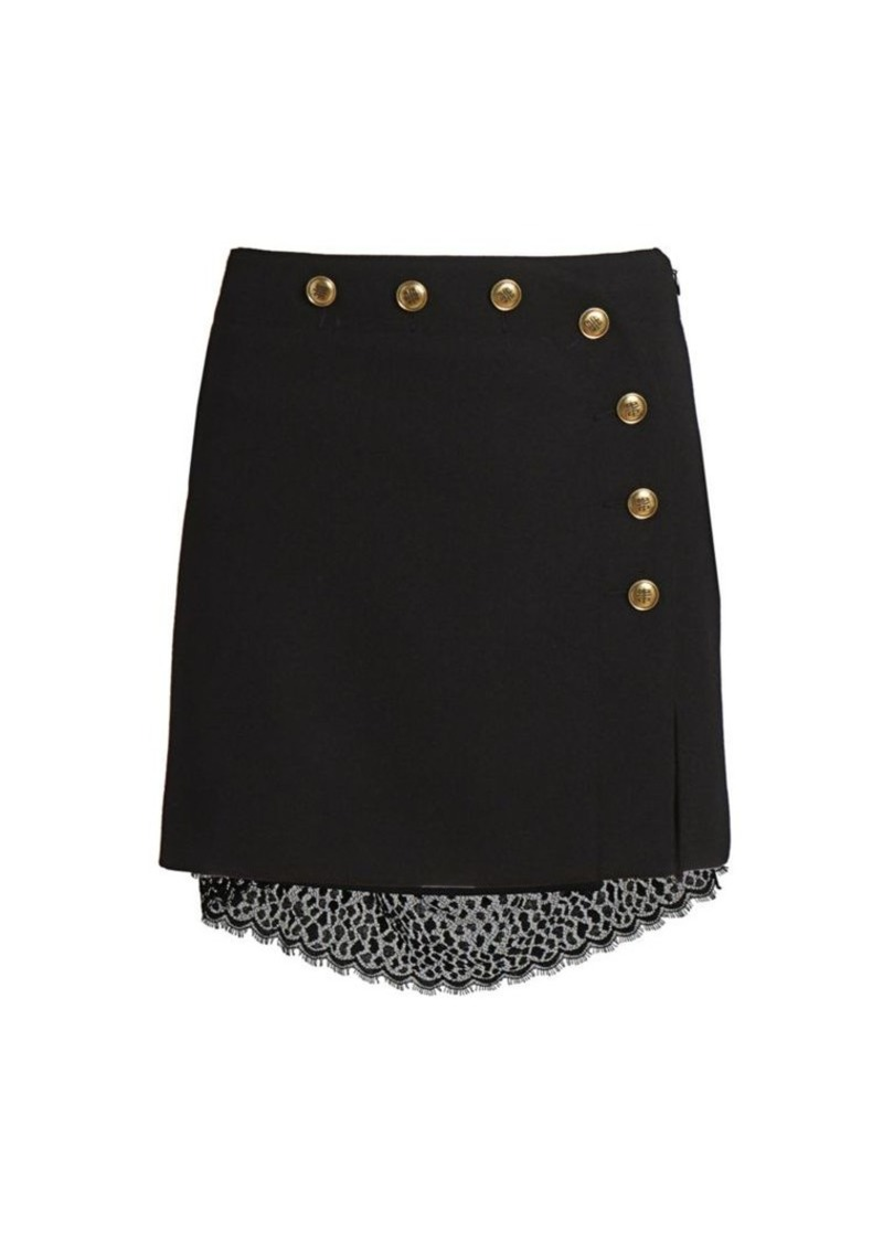 Givenchy Lace & Button-Embellished Wool Mini Skirt