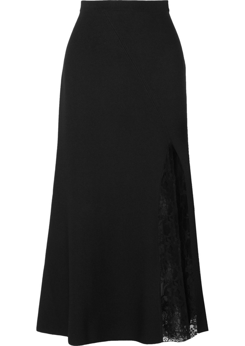 Givenchy Lace-paneled Crepe Midi Skirt