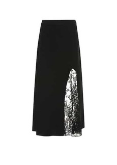 Givenchy Lace-trimmed crêpe midi skirt