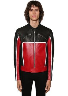 Givenchy Leather Biker Jacket W/reflective Detail