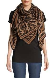 Givenchy Leopard-Print Cashmere & Silk Fringed Scarf