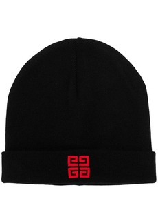 Givenchy logo embroidered beanie hat
