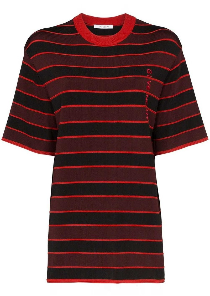 Givenchy logo embroidered striped top