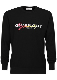Givenchy Logo Embroidered Wool Knit Sweater