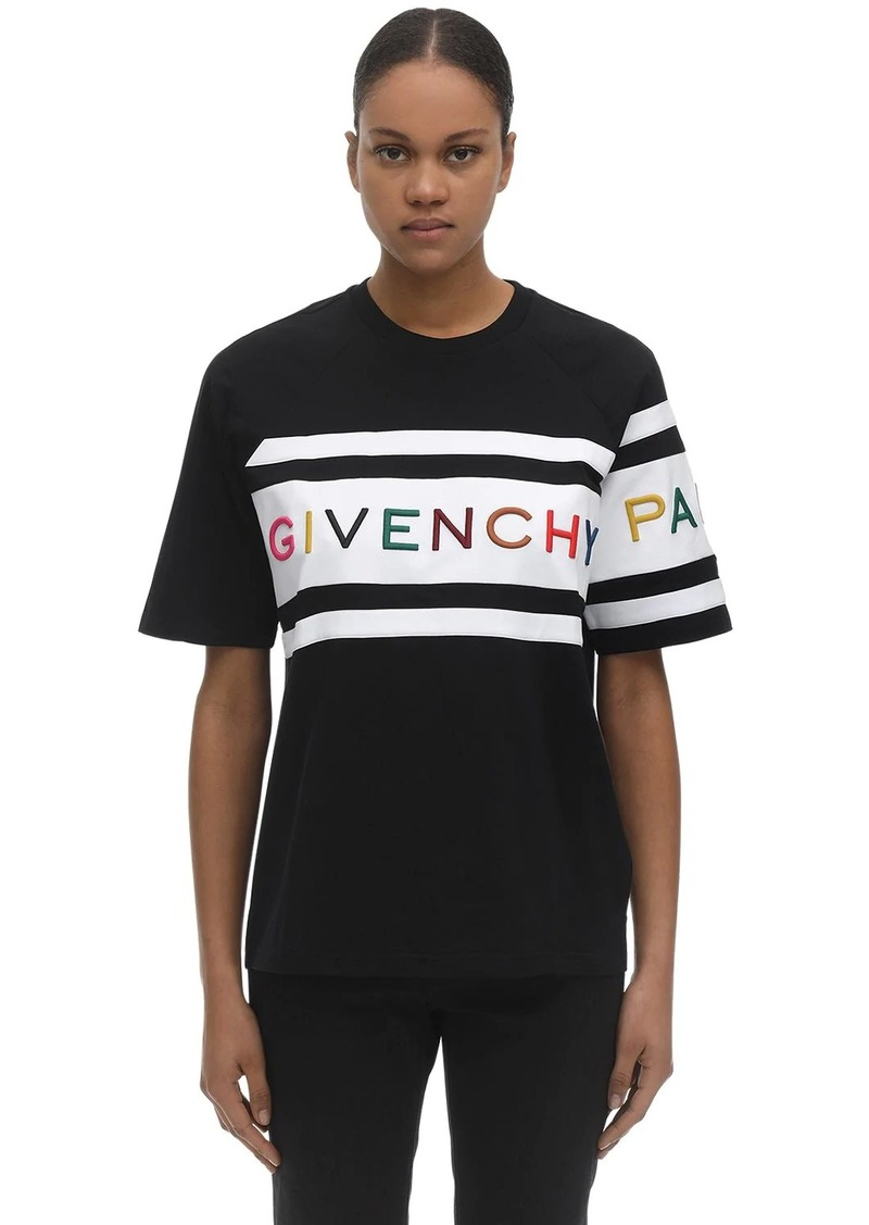 Givenchy Logo Embroidery Cotton Jersey T-shirt