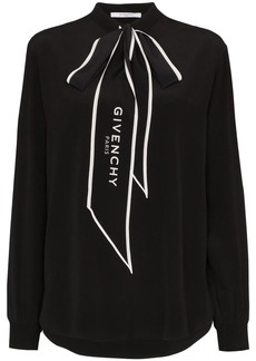 Givenchy logo-print pussy-bow blouse