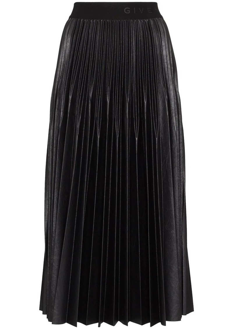 Givenchy logo waistband pleated midi skirt