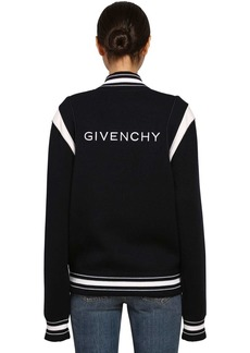 Givenchy Logo Wool Knit Bomber Jacket