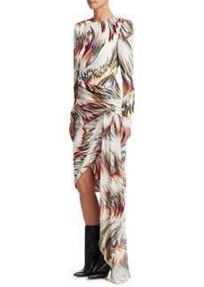 Givenchy Long Sleeve Printed Asymmetrical Silk Dress