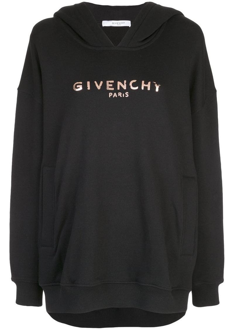 Givenchy metallic logo print hoodie