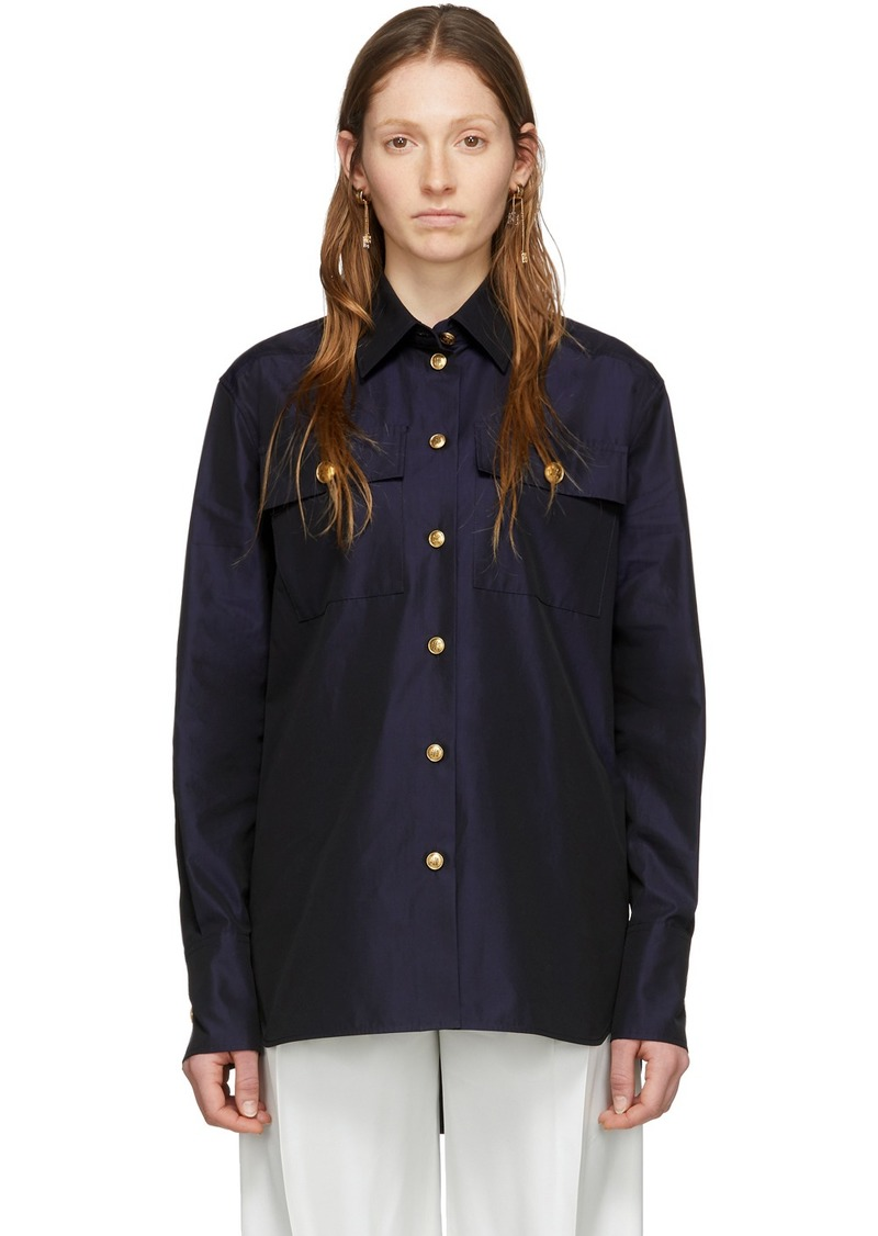 Givenchy Navy Changing Poplin Shirt