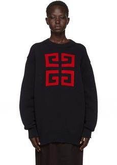 Givenchy Navy Intarsia 4G Crewneck Sweater