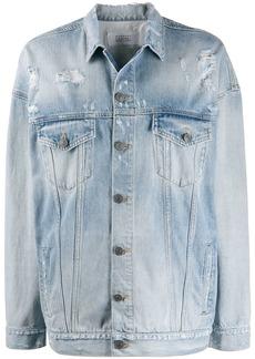 Givenchy oversized distressed logo denim jacket