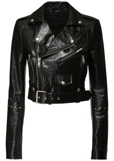 Givenchy Patent Leather Crop Biker Jacket