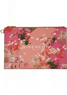 Pink 'Givenchy Paris' Flowers Pouch