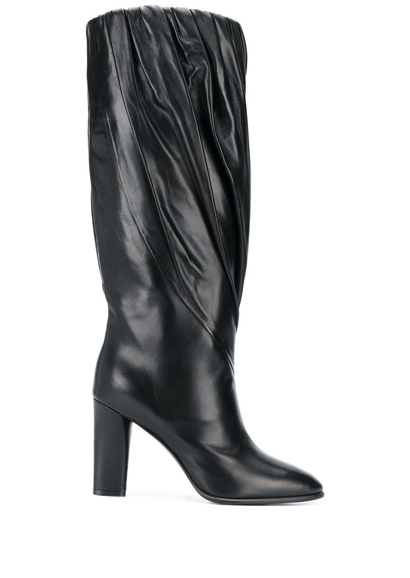Givenchy pleated calf high boots