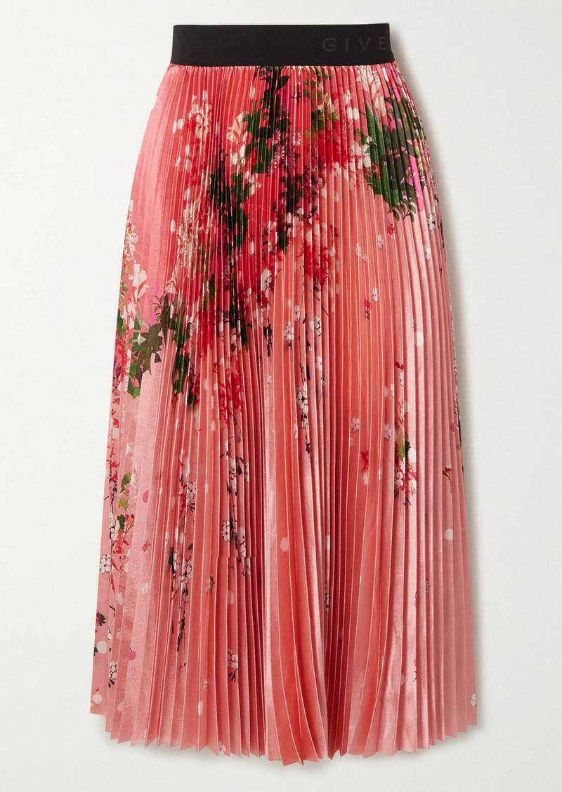 Givenchy Pleated Floral-print Satin Midi Skirt