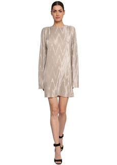 Givenchy Pleated Metallic Techno Jersey Dress