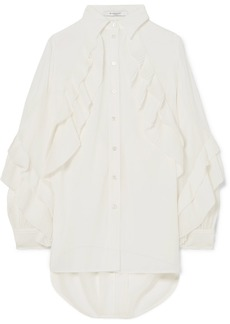 Givenchy Pleated Ruffled Silk-blend Georgette Blouse