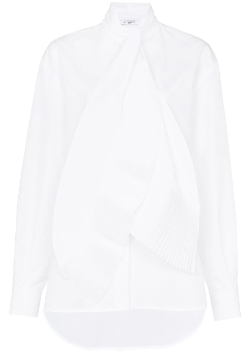 Givenchy pleated scarf detail cotton shirt