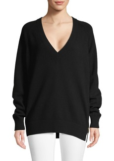 Givenchy Plunging Wool & Silk-Blend Sweater
