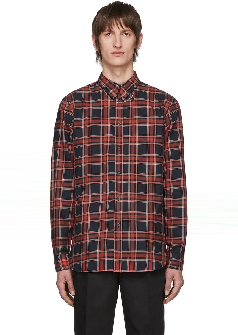 Givenchy Red & Black Check Piercing Shirt