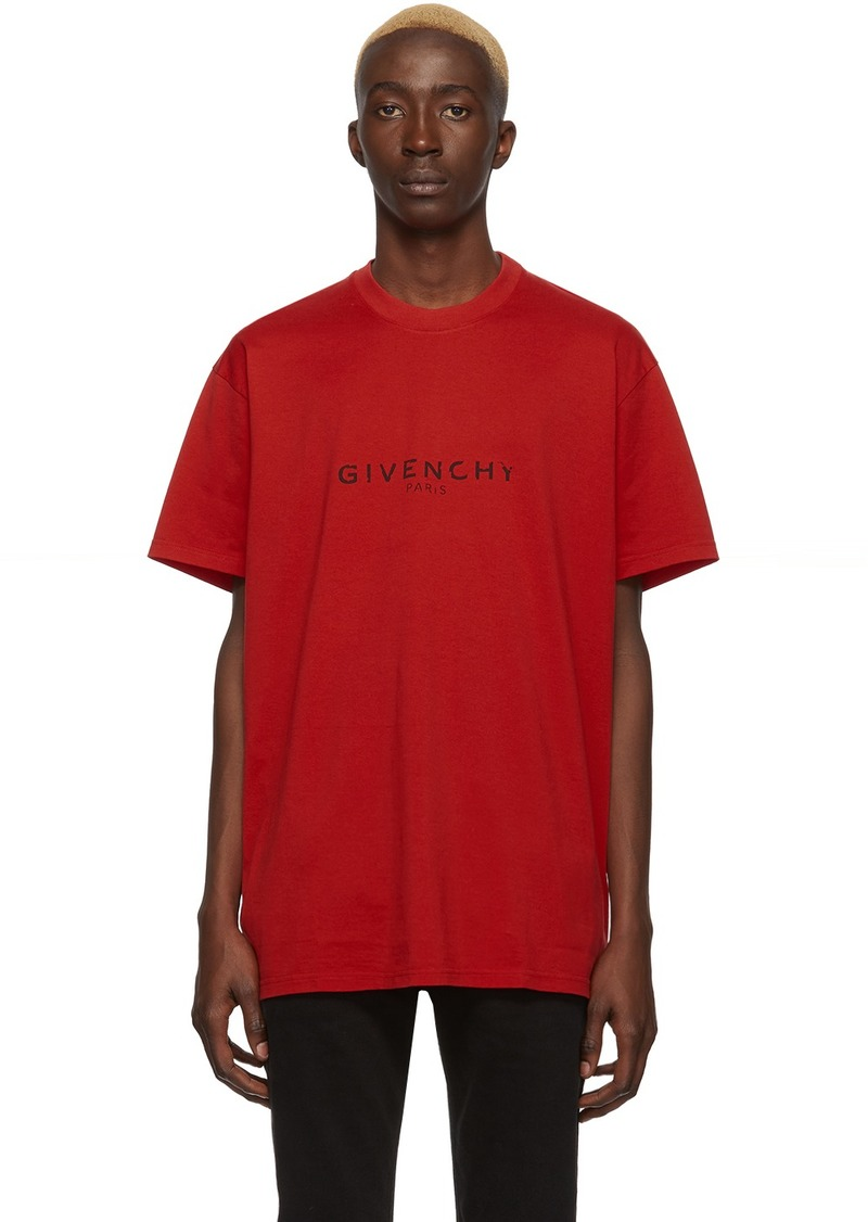 Givenchy Red 'Paris' T-Shirt