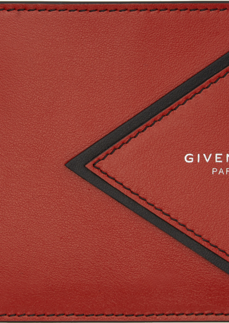 Givenchy Red V-Shape Cut Bifold Wallet