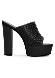 Givenchy Ribbed Platform Leather Mules